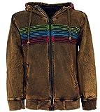 Guru-Shop Goa Hoodie Jacke, Stonewash Ethno Kapuzen Jacke, Herren, Cappuccino, Baumwolle, Size:XL, Jacken, Ponchos Alternative Bekleidung