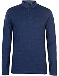 Lee Cooper Hommes Rayé Manche Longue Polo T-Shirt