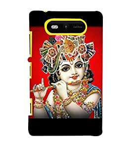 Lord Krishna 3D Hard Polycarbonate Designer Back Case Cover for Nokia Lumia 820 :: Microsoft Lumia 820