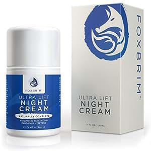 Nachtcreme 50 ml, Feuchtigkeitscreme für das Gesicht, Natürlich & vegan, Hautpflege gegen vorzeitige Alterserscheinungen wie Falten und Riffelungen, Mit Hyaluronsäure, CoQ10 und Peptiden, Von Foxbrim