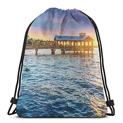 Desing shop United States,Pier at Beach In Key West Florida Usa Tropical Summer Paradise 3D Print Drawstring Backpack Rucksack Shoulder Bags Gym Bag for Adult 16.9