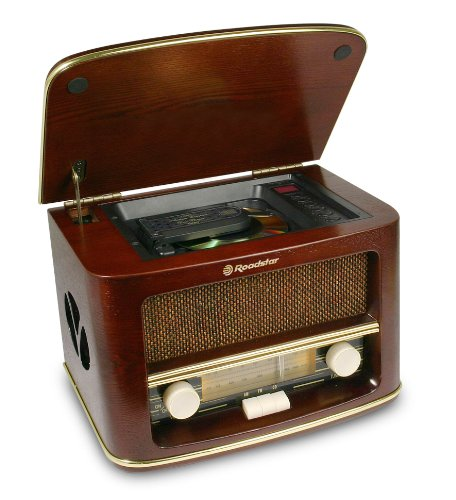 Roadstar HRA - 1500CD \'Retro Design\'Holz Radio mit CD-Player, FM/AM-Tuner (Analog)