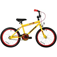 Sonic Demon Boys' Kids Bike Yellow 1 speed colour cordinated spoked wheels easy reach brakes and padding on stem
