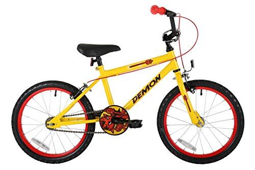 Sonic Demon Kinder-Fahrrad für Jungs, gelb, farblich abgestimmte Speichenräder, einfach zu erreichende Bremsen und Polsterung am Lenker