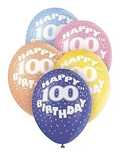 """Unique Party Globos Perlados de Látex para Cumpleaños""""Happy 100th Birthday"""", 5 Unidades 30 cm 80221"""