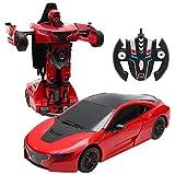 COSTWAY 2,4 GHZ RC Transformator Roboter-Auto Ferngesteuert Transformers Auto & Robot verwandelbar 1:14RS (rot)