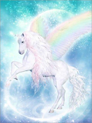 Posterlounge Leinwandbild 30 x 40 cm: Regenbogen-Einhorn Pegasus von Dolphins DreamDesign - fertiges Wandbild, Bild auf Keilrahmen, Fertigbild auf echter Leinwand, Leinwanddruck