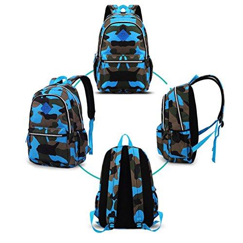 Happy Cherry Schulrucksack Tarnung-farbe Schulranzen Schultasche Sports Rucksack Freizeitrucksack Daypacks Backpack für Mädchen Jungen Kinder Damen Herren Jugendliche-Grün Blau