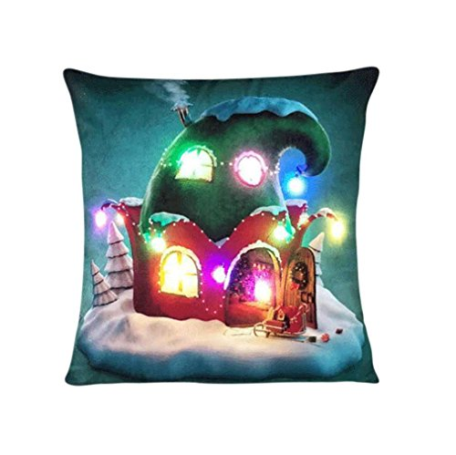 45cm 45cm Pillow Case  HUHU833 Halloween Lighting LED Cushion Cover Throw Sofa Flashing  I