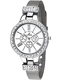 LUCERNE Analogue White Designer Dial Silver Metal Strap Stylist Gift Watch For Women A Modern Ladies Watch Gifts...