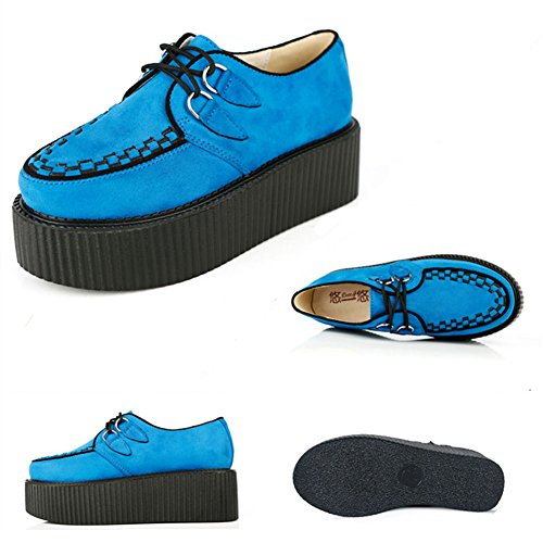 RoseG Damen Schnürschuhe Flache Plateauschuhe Gote Punk Creepers Schuhe Blau