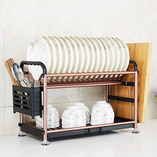 BOBE SHOP- Étagère multifonctionnelle de cuisine - étagère en aluminium d'alliage de plat de doubles couches/étagère de drain/support de plat/étagère de tasse (Couleur : Or rose)