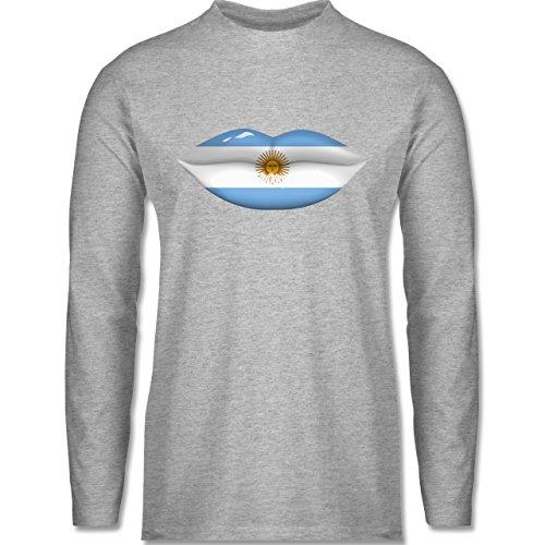 Shirtracer Länder - Lippen Bodypaint Argentinien - Herren Langarmshirt Grau Meliert