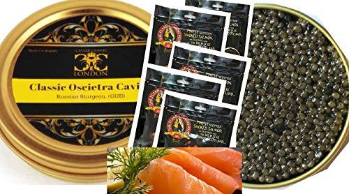 250 gr di caviale classico oscietra / ossetra e 500 gr di salmone scozzese affumicato. consegna gratuita