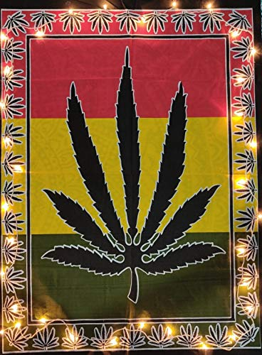 ICC Marihuana Ganja Pot Póster Hippie Decor Pot Hoja Bandera Tapiz Co