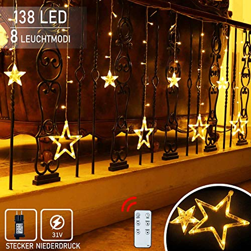 12 Sterne Lichtervorhang Lichterkette,138LED Lichtervorhang Sternenvorhang 8 Modi mit Fernbedienung Innen Außen Sterne Vorhang Lichter Für Weihnachten,Party,Hochzeit,Garten, Balkon,Schlafzimmer Deko