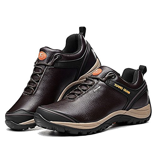 Xiang Guan Homme Low-top Cuir Imperméable Outdoor Sport Chaussures de Camping Randonnée Trail Trekking Walking Sneaker Café