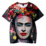 SIMYJOY Unisex Frida Kahlo Poster T-Shirt 3D Stampa T-Shirt Artist Messicana Vintage Style Cool Modern Rockabilly Summer Streetwear Tee per Uomo Donna Giovani S