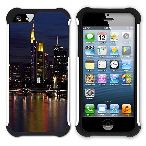 Graphic4You Frankfurt Deutschland Postkarte Aussicht Hart + Weiche Kratzfeste Hülle Case Schale Tasche Schutzhülle für Apple iPhone SE / 5 / 5S Design #4
