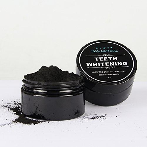 Active white Teeth Whitening Charcoal - Aktivkohle Pulver - Mit Orangenoel, Bentonit-Ton & Calcium - Mint Geschmack