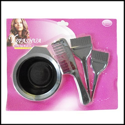 4pc Hair Colouring Bleaching Dye Brush and Bowl Beauty Set Barber Tint Bowl by SystemsEleven