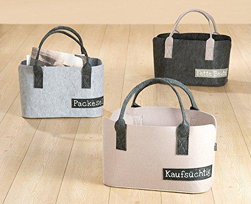 """Filztasche """"Fette Beute, Packesel oder Kaufsüchtig"""" beige grau Filz Shoppingbag Einkaufstasche Shopper modern Aufbewahrungskorb Universalkorb Tasche lustig ausgefallen (Kaufsüchtig) Kaufsüchtig"""