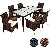 TecTake Poly Ratán sintético Conjunto de Muebles de jardín Comedor Juego Mesa Silla 6+1 - disponible en diferentes colores - (Negro Marrón | No. 401994)