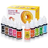 Colorant Alimentaire Liquide 10 x 10 ml Colorant Extrêmement Concentré Liquide Set pour la coloration de boissons/pâte/nappages et tous les autres aliments
