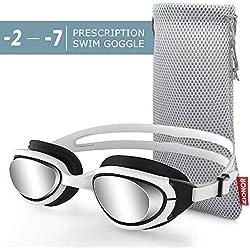 ZIONOR G7 Lunettes de Natation Myopes Lunette de Plongée Optiques Correctives pour Myopie Protection UV 100% Anti-buée pour Hommes, Femmes et Nageurs Adultes (Dioptrie -2.0 à -7.0)