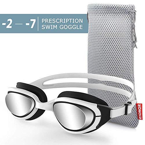 ZIONOR Optische Schwimmbrille, G7 Auslaufsicher & Anti-Beschlag Profi Korrekturglas Schwimmbrillen mit Sehstärke/Dioptrien, 100% UV-Schutz für Herren Damen Outdoor-Schwimmer (Dioptrien -2,0 bis -7,0)