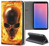 Huawei P8 Lite 2015 Hülle Premium Smart Einseitig Flipcover Hülle P8 Lite 2015 Flip Case Handyhülle Huawei P8 Lite 2015 Motiv (1061 Totenkopf Skull Flammen Gelb Gold)