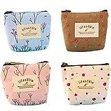 Bigboba 4pcs mini canvas portamonete portafoglio da donna borsa portamonete piccolo carino borsa portaoggetti per chiavi, auricolare, rossetto, carta