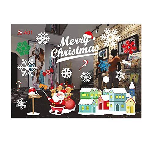 ODJOY-FAN Fenster Entfernbar Aufkleber Farbe Fenster Dekoration Weihnachten Restaurant Einkaufszentrum Dekoration Schnee Glas Wandtattoos(A,1 PC)