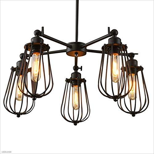 LINA Luminaire suspendu vintage, lustre en métal Edison plafonnier suspendu moderne pour 5 chandeliers bar éclairage de restaurant, E27,60x62cm