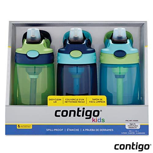 Contigo Kinder Autospout Wasserflasche, 414 ml, mit Trinkhalm, 3 Stück, Jungen - Hat Gizmo
