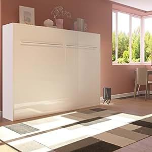 smartbett lit mural pliable l 39 horizontal 140 x 200 cm sans matelas taille individuelle amazon. Black Bedroom Furniture Sets. Home Design Ideas