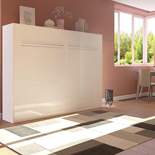 Smartbett Schrankbett Foldaway Bed 140 x200 Horizontal Querbett Gästebett Weiß mit Hochglanzfront