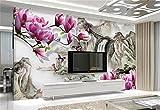 Yosot 3D Tapeten Benutzerdefinierte Wandbild Non-Woven Foto Elegante Magnolia Tv Hintergrund Malerei 3D Wandbild Tapeten Für Wohnzimmer-140Cmx100Cm