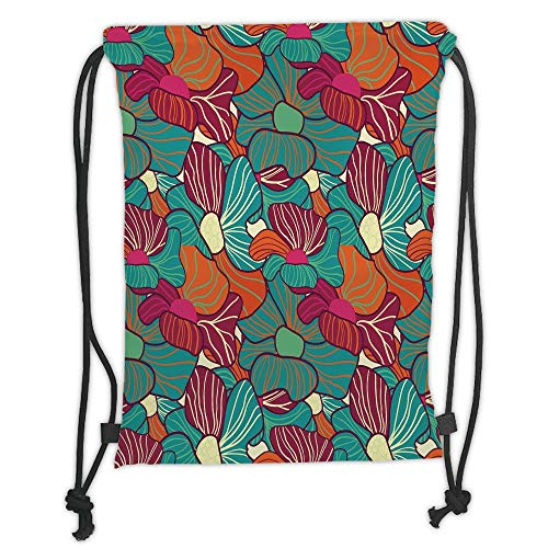 Icndpshorts Floral,Flourishing Foliage Petals Plant Vibrant Color Palette Image Flower Blossom Design Decorative,Multicolor Soft Satin,5 Liter Capacity,Adjustable STR -