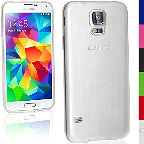 igadgitz Esmerilado Claro Funda Carcasa Brillo TPU Gel Para Samsung Galaxy S5 SV MINI SM-G800F + Protector Pantalla