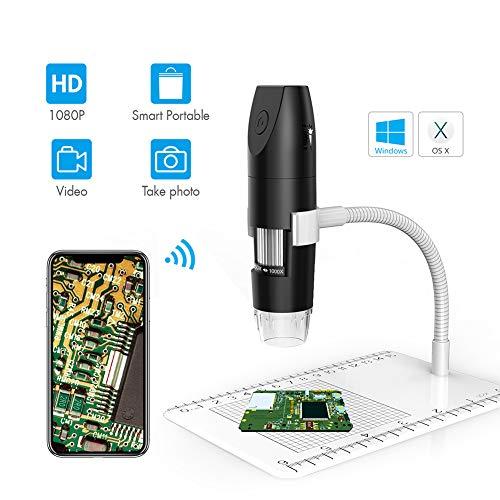 IGRNG 2 Million WiFi bewegliches Mikroskop, 1000X 1080P Digital-Mikroskop mit Band, Geltungsbereich Kinder Interesse Ausbildung, Schmuck Testing, Etc,Schwarz