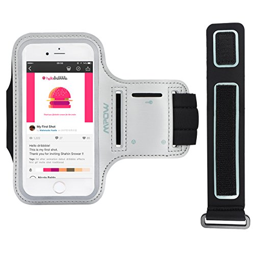 Mpow 4.7inch Fascia da Braccio Sportiva per iPhone 6/6s/7/8, a Prova di Sudore & Antipolvere & Splash-Proof, con Sacchetto Chiave,per Jogging & Biking, Grigio