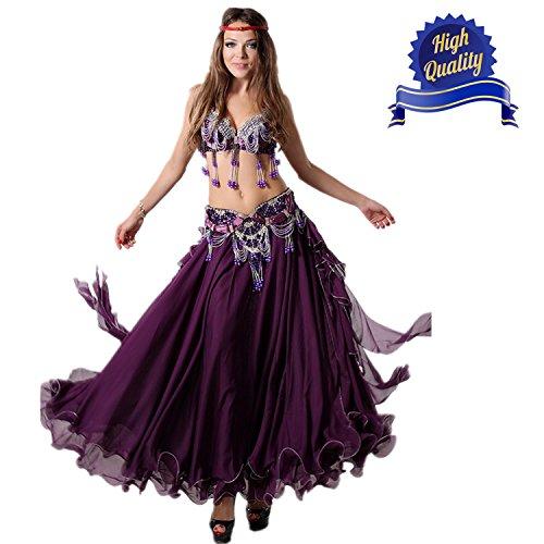 Belly Dance Profi Anzug Halter BH Top mit Gürtel Kleid Bauchtanz Kostüm BH, Beaded Taille Gürtel (3, (Weiß Belly Kostüm Und Dance Schwarz)