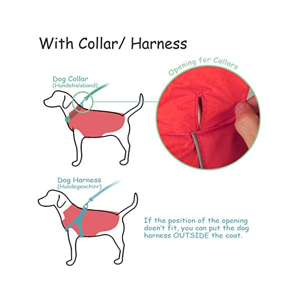 SymbolLife Dog Coat 100% Waterproof Nylon- Fleece Lined Jacket Reflective Dog Jacket Warm Dog Coat Climate Changer Fleece Jacket Easy On and Off 8