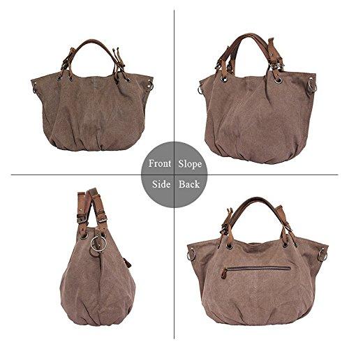 VRIKOO Women's Canvas Top Handle Shoulder Tote Handbag Casual Retro European Style Crossbody Weekend Bag (Coffee) Caffè