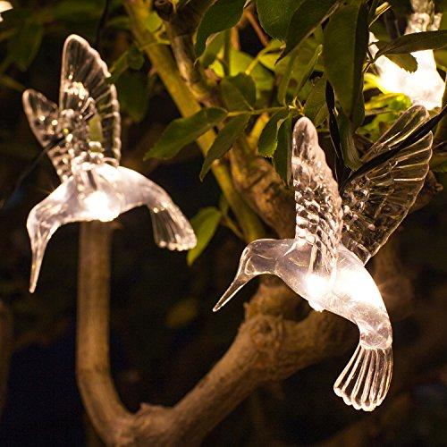 Lights4fun Guirlande Lumineuse Solaire avec 10 Colibris LED Blanc Chaud pour Jardin