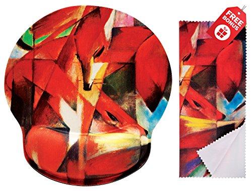 Franz Marc Die Fox Ergonomic Design Mauspad mit Handballenauflage Hand Support. Runder großer Mausbereich. Passende Mikrofaser Reinigungstuch für Brillen und Bildschirme. Großartig für Gaming & Arbeit