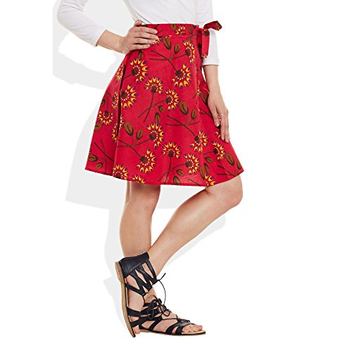Womens Dress Cotton Imprimé Wrap Around Beach Sarong Jupe A Line Rouge