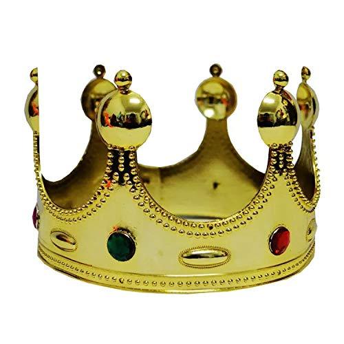 thematys Kinder Krone in Gold gelb mit bunten Juwelen - perfekt für Karneval, Halloween & Cosplay (Klassiker Juwelen)
