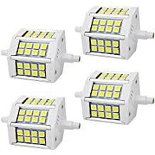 4 unidades - R7S 5W 78mm LED Bombillas 24x SMD5050 Blanco Frío 6000K 400lm, No Regulable - Equivalente J78 50W R7s Bombilla halógena